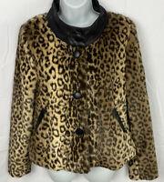 Boston Proper Womens Animal Print Coat Size 8 Button Up Lined Jacket Pockets EUC