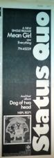 STATUS QUO Mean Girl /Dog... 1973 UK Poster size Press ADVERT 16x6 inches