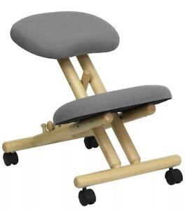 Grey Ergonomic Kneeling Chair Wooden Comfortable Posture Correcting 200lbs Capac