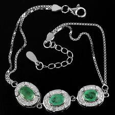 Sterling Silver 925 Genuine Natural Emerald & Lab Diamond Bracelet 61/2 - 8 Inch