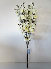 Pack of 6 Artificial Cream Cherry Blossom Stems - 70cm - Fake Flower Stems