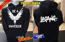 LOGAN PAUL BE A MAVERICK Logo Hoodie Pullover Front and Back
