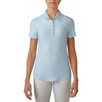 Adidas Climacool Women's 'Cottonhand' Mesh-Striped Polo, Large, Lt. Blue