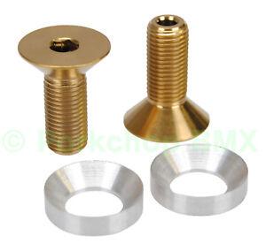 """3/8"""" X 24T BMX crank spindle HOLLOW bolts fits Profile PAIR TITANIUM GOLD"""