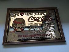 Vintage COCA COLA Mirror Sign Bar Wood Frame Victorian Style