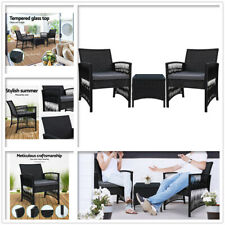 3 Piece Wicker Patio Furniture Outdoor Bistro Set Dining Table Chairs Setting AU