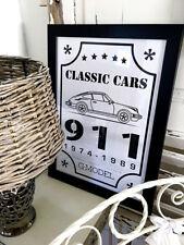 Landhaus-Bild Porsche 911 G-Modell Kunstdruck Poster Bild A3 Holzrahmen schwarz