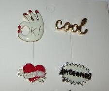 OK Cool Fantástico MOM pin forma de corazón juego 4 PINS color dorado plata
