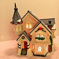 Heartland Valley Village Handpainted Porcelain 3 Story Blue Roof & Spire w Box