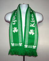 Adult Kiss Me I'm Irish Knit Scarf Green White 100% Polyester reversible