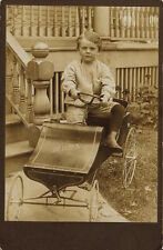PORTRAIT OF A LITTLE BOY AND HIS PEDAL CAR IN THE MOTOR CITY (DETROIT)- CAB CARD