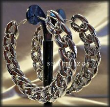 """LARGE ACRYLIC CHUNKY CHAIN LINK HOOP 3"""" STATEMENT EARRINGS NEW"""