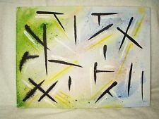 """Pintura De La Lona Arte Moderno Abstracto """"Diagonal confusión' 16x12 pulgadas Acrílico"""