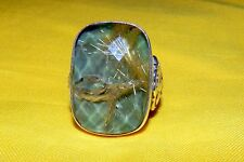 Gorgeous STEPHEN DWECK SIGNED STERLING SILVER WITH RUTILATED QUARTZ RING PL READ