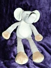 "Stuffed Plush Elephant 13"" Gray Cream/White Brown/Tan Long Arms/Legs"