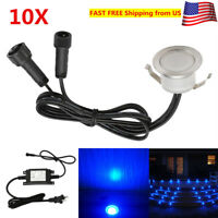 10Pcs/ Set 31mm 12V Blue Outdoor Garden Path Stair Inground LED Deck Lights IP67