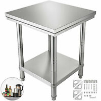 610x610mm Commercial Stainless Steel Kitchen Vevor Work Bench Food Prep Table