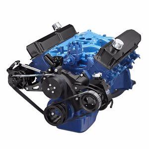 Black Ford FE Engine Serpentine Pulley Kit 352 390 427 428 Power Steering