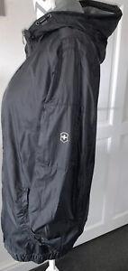 Victorinox (Swiss Army) Mens Black  Lightweight Hooded Jacket Size Medium