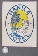 vintage 1920's MANILA HOTEL Philippines LARGE SIZE Luggage travel label
