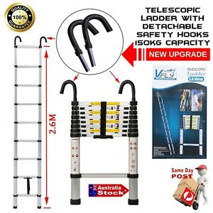 2.6m TELESCOPIC ALUMINIUM LADDER WITH SAFETY HOOKS EXTENSION EXTENDABLE COMPACT