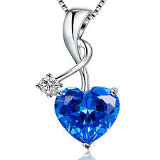 Hot Sterling Silver 4.03ct Heart Cut Created Blue Sapphire Pendant Necklace