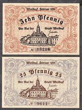 Woldegk -Stadt- 10 Pf. und 25 Pf., Februar 1921