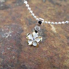 8mm 2 Tone Rhodium Plumeria Flower Hawaiian 925 Silver Pendant Necklace #SP82805
