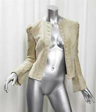 ALEXANDER MCQUEEN Womens Beige Suede Leather Button Down Fitted Jacket Coat 38