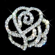 w Swarovski Crystal Stone Rhinestone Cutout ROSE Flower Floral Pin Bridal Brooch