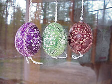 Hand Decorated REAL Egg Scratched/Dyed/Pysanky Easter Gift Decoration Flowers