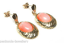 9ct Gold Coral Drop dangly earrings Gift Boxed Made in UK