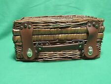 """New listing Wicker Basket with Lid and Leather Straps & Handle.13"""" X 9 1/2"""" X 6"""" High"""