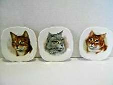 "(3) Cat Plates Royal Trent Fine Bone China 4.5""x4.5"" Staffordshire England"