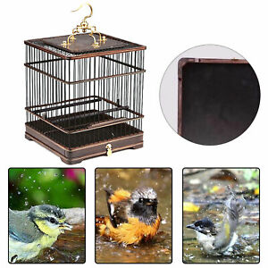 Asian Bird Cage Solid Square Wood vintage Chinese Wooden Pet Nest Home USA