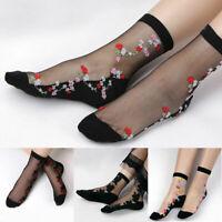 Women Rose Flower Socks Silky Lace Ankle Short Thin Transparent Designs