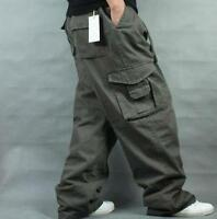 Mens Pants Loose Cargo Baggy work Casual Overall Cotton Blend Trousers Hot Sale