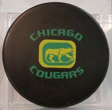 1972 WHA CHICAGO COUGARS OFFICIAL  GAME PUCK  OLD SLUG MADE IN CANADA GEM!!