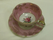 Bond-Ware Hand Painted ~ Pink Three Footed Teacup & Saucer Rose Centers Gold