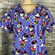 Disney Minne Mouse Red Polka Dot Dress Women's Large Scrub Top