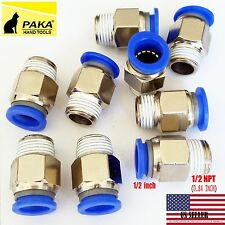 10X  Male Straight Connector Tube OD 1/2 X NPT 1/2 Pneumatic Air Push In Fitting
