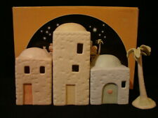Precious Moments-4 Piece Nativity Building Set/Palm Tree-$170V