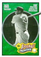 2005 UPPER DECK BASEBALL HEROES #102 - BABE RUTH-EMERALD PARALLEL SP/UD #198/199