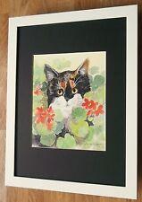 Lesley Holmes framed wall art - 12''x16'' frame,  Tortoiseshell Cat