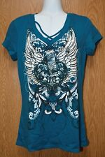 Junior Womens Turquoise Blue Winged Ransom Cap Sleeve Shirt Size Medium NWT NEW
