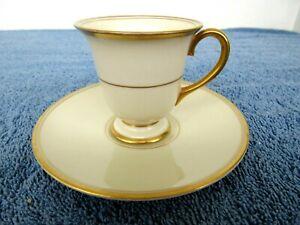 Vintage California Franciscan Porcelain Demitasse Cup & Saucer Gold Band Pattern