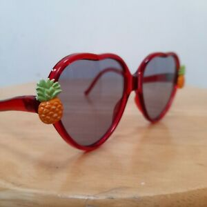 Kitsch Vintage Heart Shaped Sunglasses For Kids Pineapple Charms