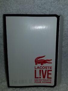 Lacoste LIVE L!IVE Eau De Toilette EDT Pour Homme Men Vial Sample .06 oz/2mL New
