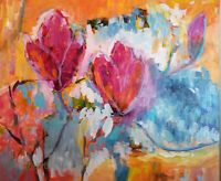 Mona Vivar abstract expressionist pink japanese magnolia flower painting 20x24
