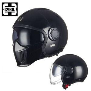 CYRIL-F9 GLOSSY BLACK CAMFLOUGE 4IN1 Convertible Semi Matte Motorcycle Helmet